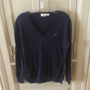 Vineyard Vines navy 100% cotton v-neck sweater